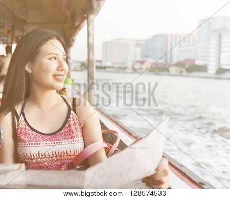 Girl Friendship Hangout Traveling Holiday Map Concept