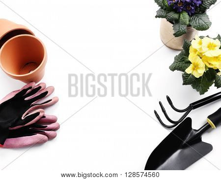 Gardening tools on a white background