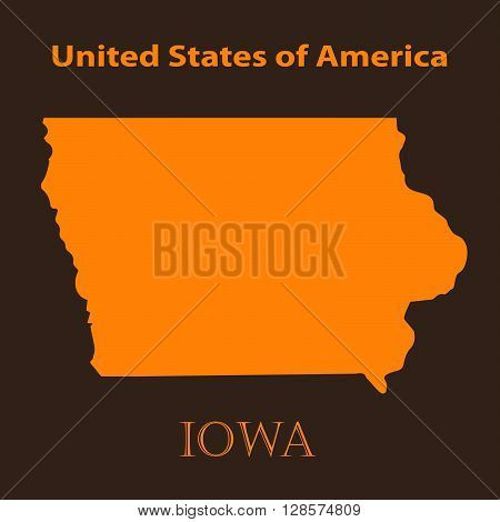 Orange Iowa map - vector illustration. Simple flat map of Iowa on a brown background.