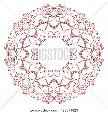 Red and white east illustration of circular pattern or mandala on isolated background