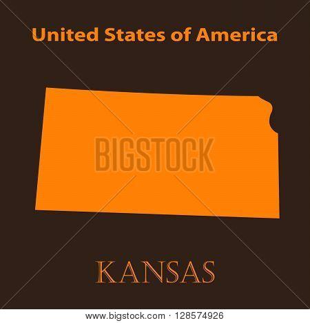 Orange Kansas map - vector illustration. Simple flat map of Kansas on a brown background.