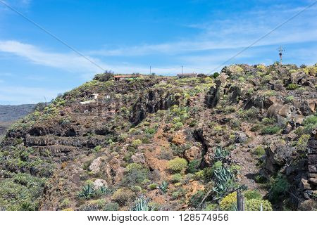 The hamlet Gerian at the Argaga Canyon. The Barranco de Argaga is next to the Valle Gran Rey. The trail is heavy to hike and with the steep slopes a bit dangerous. The hamlet is on top of the ravine