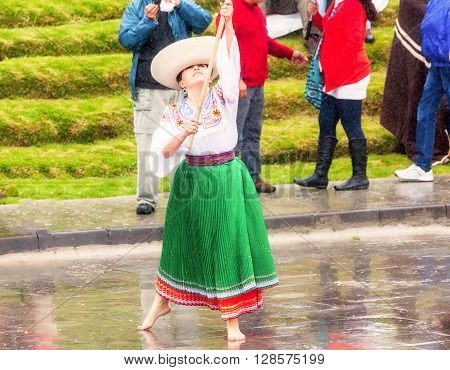Ingapirca Ecuador - 20 June, 2015: Unidentified Indigenous Woman Dressed In Traditional Costume Celebrating Inti Raymi Festival Of The Sun In Ingapirca, Ecuador In Ingapirca On June 20, 2015
