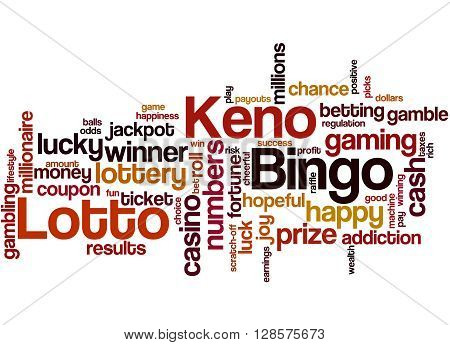 Lotto Bingo Keno, Word Cloud Concept 3
