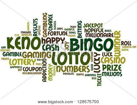 Lotto Bingo Keno, Word Cloud Concept 5