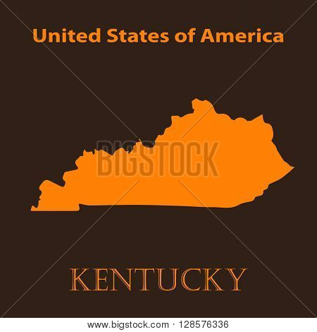 Orange Kentucky map - vector illustration. Simple flat map of Kentucky on a brown background.