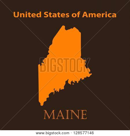 Orange Maine map - vector illustration. Simple flat map of Maine on a brown background.