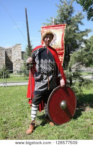 BELGRADE, SERBIA - APRIL 23 Participant from Russia at Belgrade Knight Fest held on 23 April in Belgrade Serbia