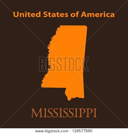 Orange Mississippi map - vector illustration. Simple flat map of Mississippi on a brown background.