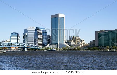 Beautiful view of downtown Jacksonville Florida across the St. Johns River.