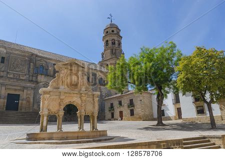 Santa Maria Fountain And Cathedral In Baeza