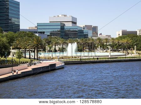Jacksonville Florida Friendship Fountain and River walk on the St John's River