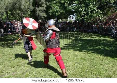 BELGRADE, SERBIA - APRIL 23 Demonstration of medieval knight fighting at Belgrade Knight Fest held on 23 April in Belgrade Serbia