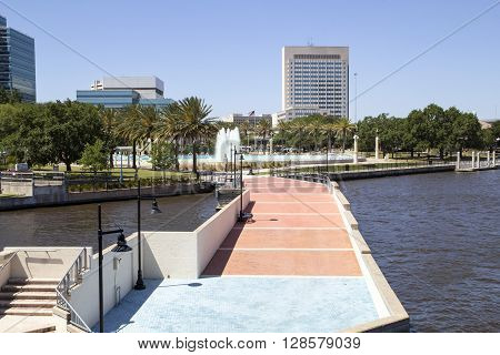 Beautiful Jacksonville Florida Friendship Fountain and Riverwalk