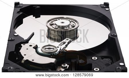 Hard disk platter and platters clamp isolated on white