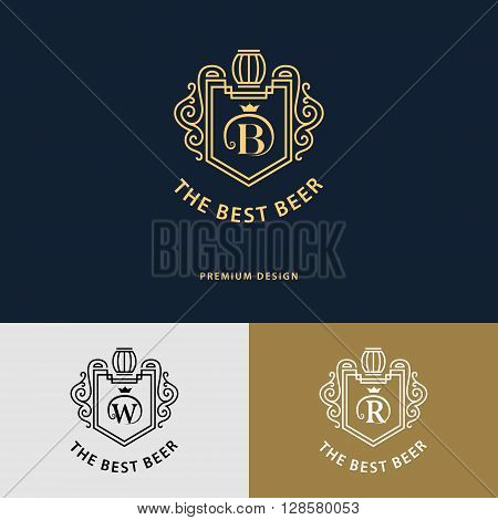 Vector illustration of Line graphics monogram. Logo design. Flourishes frame ornament template with barrel for labels emblems for beer house bar pub brewing company brewery tavern. Letter B W R
