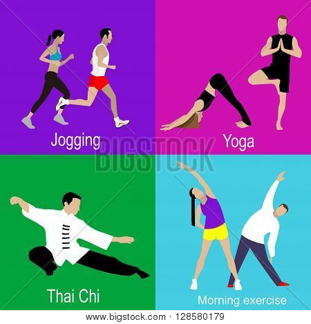 Four infographic icons on sports. Man and woman doing jogging, yoga, Tai Chi, Chi Kung, morning exercise