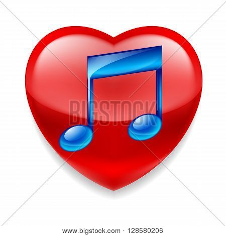 Favorite music icon. Shiny red heart with glossy blue music note