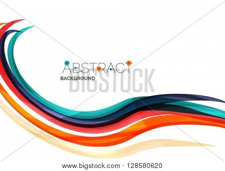 Geometric abstract background, swirl colorful lines - color curve stripes and lines in motion concept and with light and shadow effects. Presentation banner and business card message design template