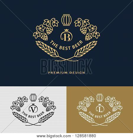 Vector illustration of Line graphics monogram. Logo design frame ornament template with barrel hops malt leaves for labels emblems for beer house bar pub brewing company brewery tavern
