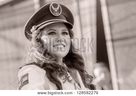 Banos De Agua Santa - 29 November, 2014 : Black And White Portrait Of Young Woman Wearing The Uniform Of Navy In Banos De Agua Santa On November 29, 2014