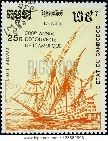 MOSCOW RUSSIA - MAY 01 2016: A stamp printed in Cambodia shows ship Nina 1st expedition of Columbus (1492) series