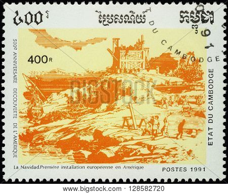 MOSCOW RUSSIA - MAY 01 2016: A stamp printed in Cambodia shows La Navidad founded by Columbus in America (1492) series
