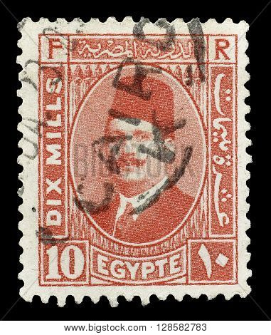 EGYPT - CIRCA 1929 : Cancelled postage stamp printed by Egypt, that shows king Fuad.