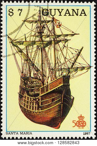 MOSCOW RUSSIA - APRIL 29 2016: A stamp printed in Guyana shows antique sailing ship