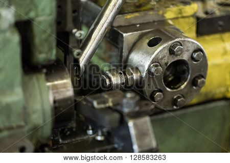 Industrial equipment machine machine. Realistic view of the lathe in the workshop at an engineering plant.