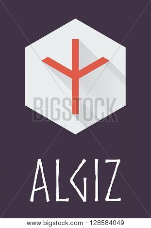 Algiz rune of Elder Futhark in trend flat style. Old Norse Scandinavian rune. Germanic letter. Vector illustration.
