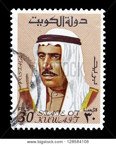 KUWAIT - CIRCA 1969 : Cancelled postage stamp printed by Kuwait, that shows portrait of Sheik Sabah.