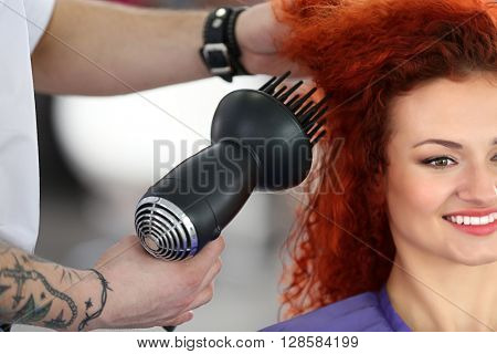Beautiful girl visit hairdressing salon