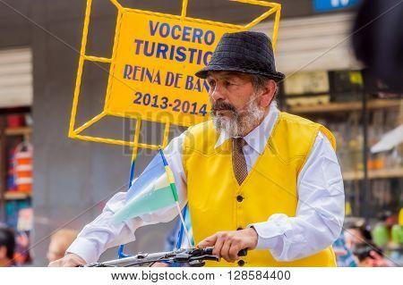 Banos De Agua Santa - 29 November, 2014: Elderly And Experimented Spokesman On The Streets Of Banos De Agua Santa, Ecuador, In Banos De Agua Santa On November 29, 2014