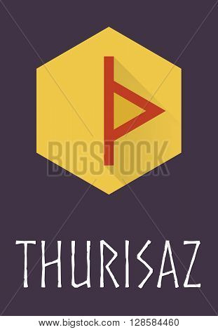 Thurisaz rune of Elder Futhark in trend flat style. Old Norse Scandinavian rune. Germanic letter. Vector illustration.