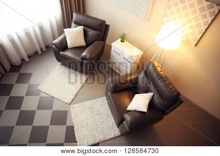 Modern room interior, top view