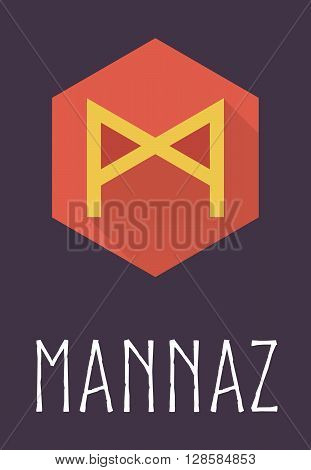 Mannaz rune of Elder Futhark in trend flat style. Old Norse Scandinavian rune. Germanic letter. Vector illustration.