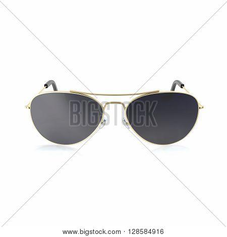 Sunglasses dark black sunglasses isolated on white background. 3d illustration