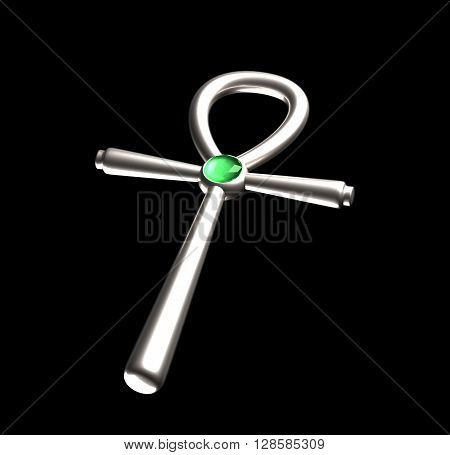 symbol ankh isolated on white background with green gem