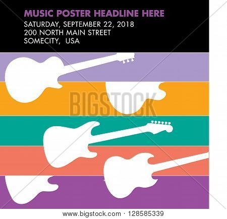 Guitar musical template with space for your type