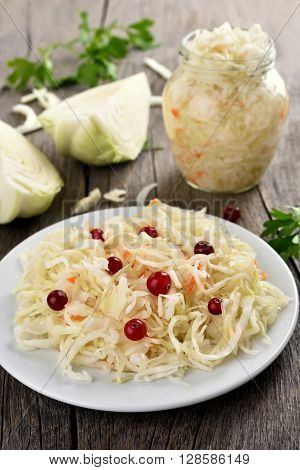Pickled marinated cabbage (sauerkraut) in country style
