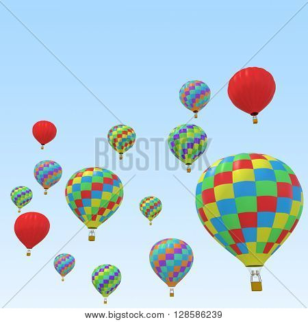 Group colorful balloon isolated on sky background. 3d illustration
