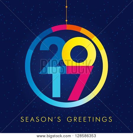 2017 season's greetings. 2017 new year creative colored design for your greetings card, flyers, party and event