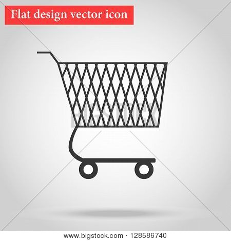 Shopping cart for goods in the shop flat design icon with shadow