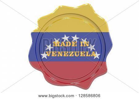 made in Venezuela seal stamp. 3D rendering