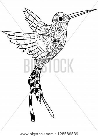 Hummingbird coloring book for adults raster illustration. Anti-stress coloring for adult. Zentangle style. Black and white lines. Lace pattern