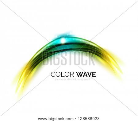 Blurred vector wave design elements with shiny light effects