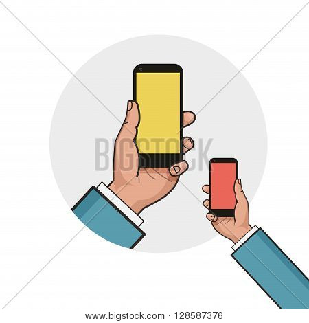 Mobile phone in businessman hand. Left hand using smartphone. Mockup of modern mobile phone with touchscreen. Vector flat design