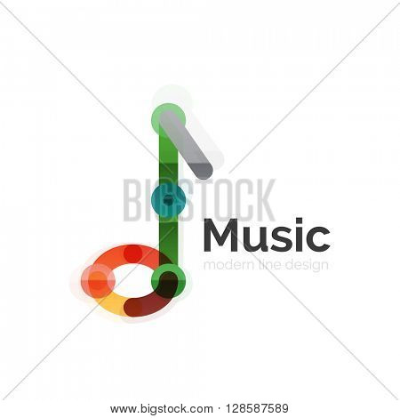 Music note logo, flat thin line geometric design isolated on white