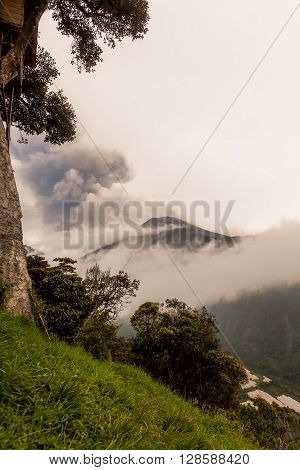 Pyroclastic Powerful Explosion Over Tungurahua Volcano On March 2016 View From Casa Del Arbol Tree House Ecuador South America